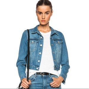 Acne Studios Tag Denim Jacket In Vintage Blue